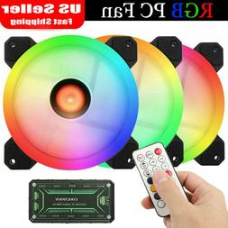 3-Pack LED Cooling Fan RGB 120mm 12V w/ Remote Control For C
