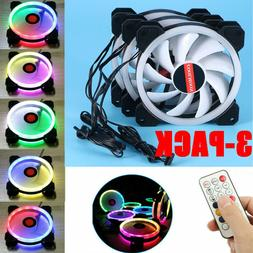 3 Pack RGB LED Cooling Fan 120mm 12V w/ Remote Control For C