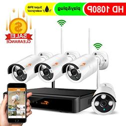 CORSEE 4 Channel 1080P Full HD Wireless Security Camera Syst