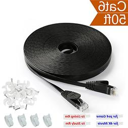 Ethernet Cable Black Flat 50 ft Cat 6 with RJ45 Connector -