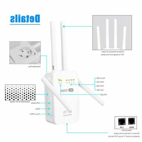 1200Mbps 2.4/5G Wireless Dual Band Repeater 4 Antenna