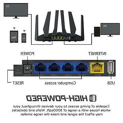 1900mbps Smart Dual Band WiFi Gaming Router Stable Range