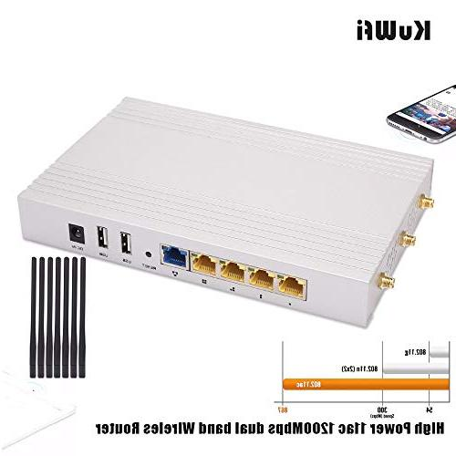 KuWFi Gigabit Router AC 1200Mbps Gigabit Access Point Long Than 100Users Use Walls RAM for Home/Office