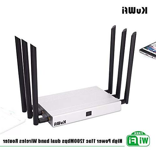 KuWFi Gigabit Router AC 1200Mbps Gigabit Point Than to Use Walls 2000mW High Power 128M RAM for