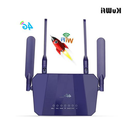 KuWFi 4G LTE Wireless CPE WiFi Router 300Mbp with Card
