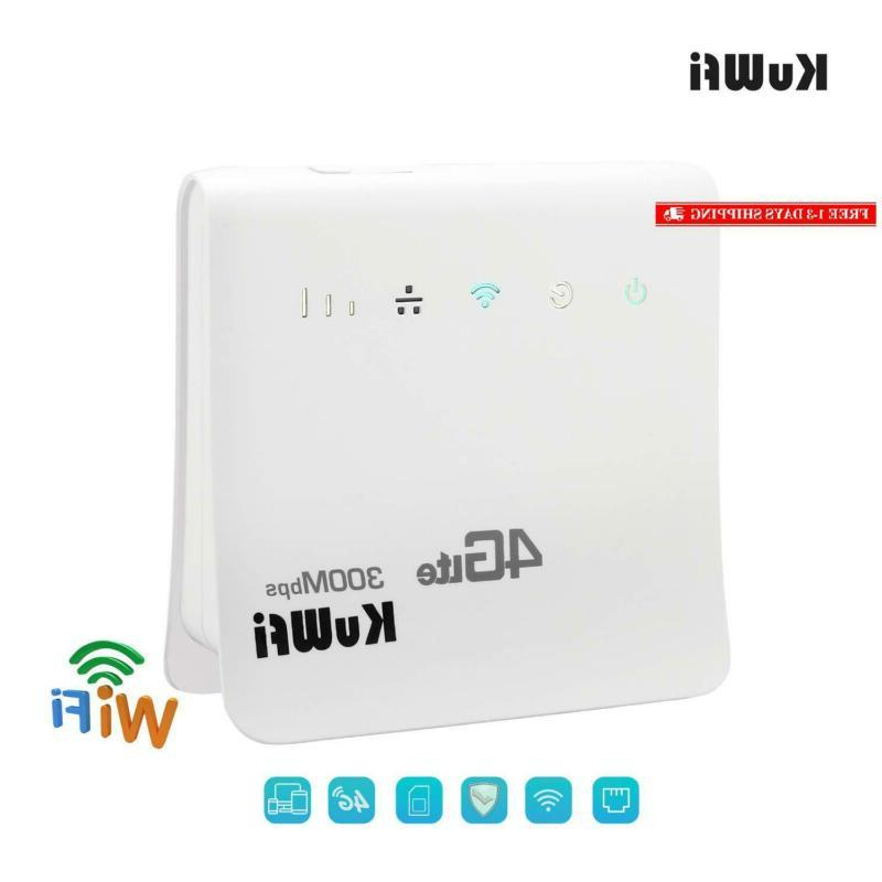 Kuwfi Unlocked 300Mbps 4G Cpe Wireless Router For