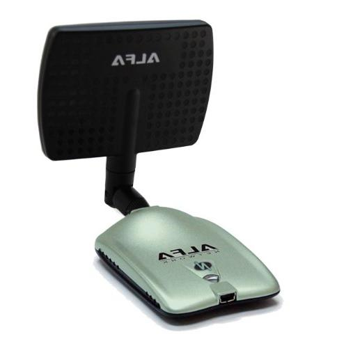 Alfa Wireless G/N Long-Range Network Adapter 5dBi Screw-On Swivel Rubber Antenna and 7dBi Panel and Suction Mount