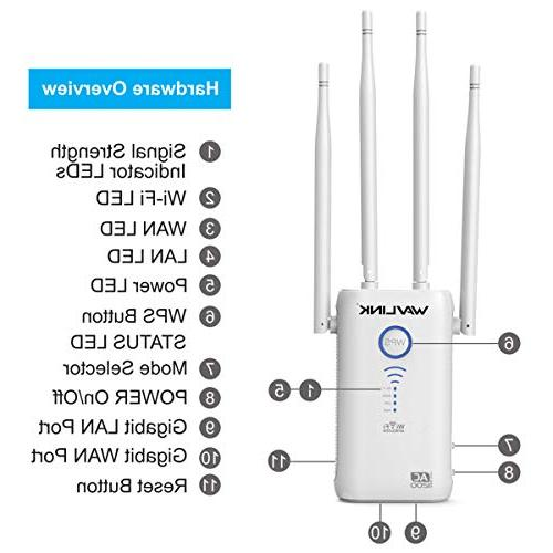 WAVLINK ARIEAL - AC1200 Extenders Signal Booster 2.4+5Ghz Dual Band Amplifier Router/Access AP in Works Router, Version