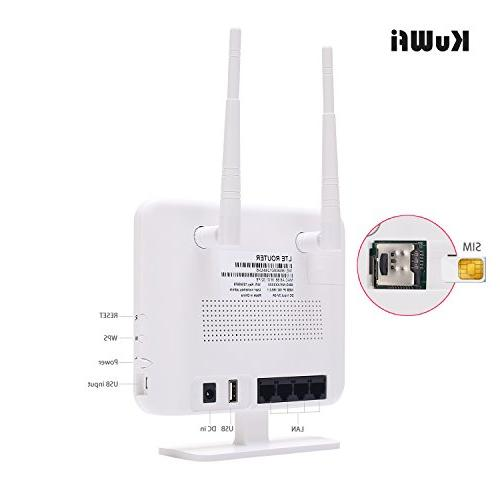 KuWFi Router,300Mbps Unlocked LTE CPE SIM Outdoor Antenna 4 LAN Port Speed Work in Caribbean,Europe,Asia,Middle