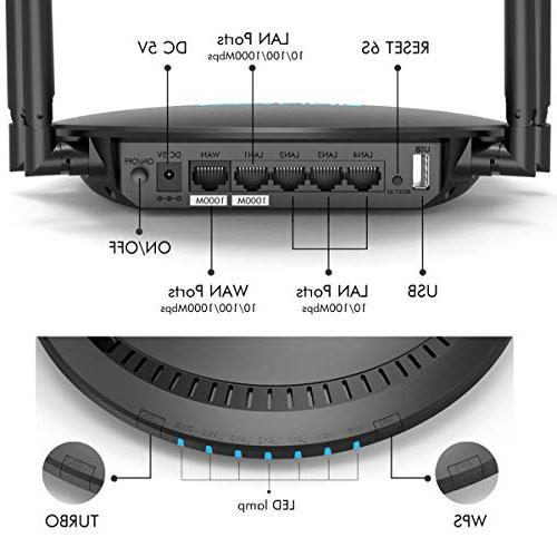 1200Mbps WiFi Router, WAVLINK AC1200 Dual-Band Ethernet 2.4Ghz High Speed Box Range for PC