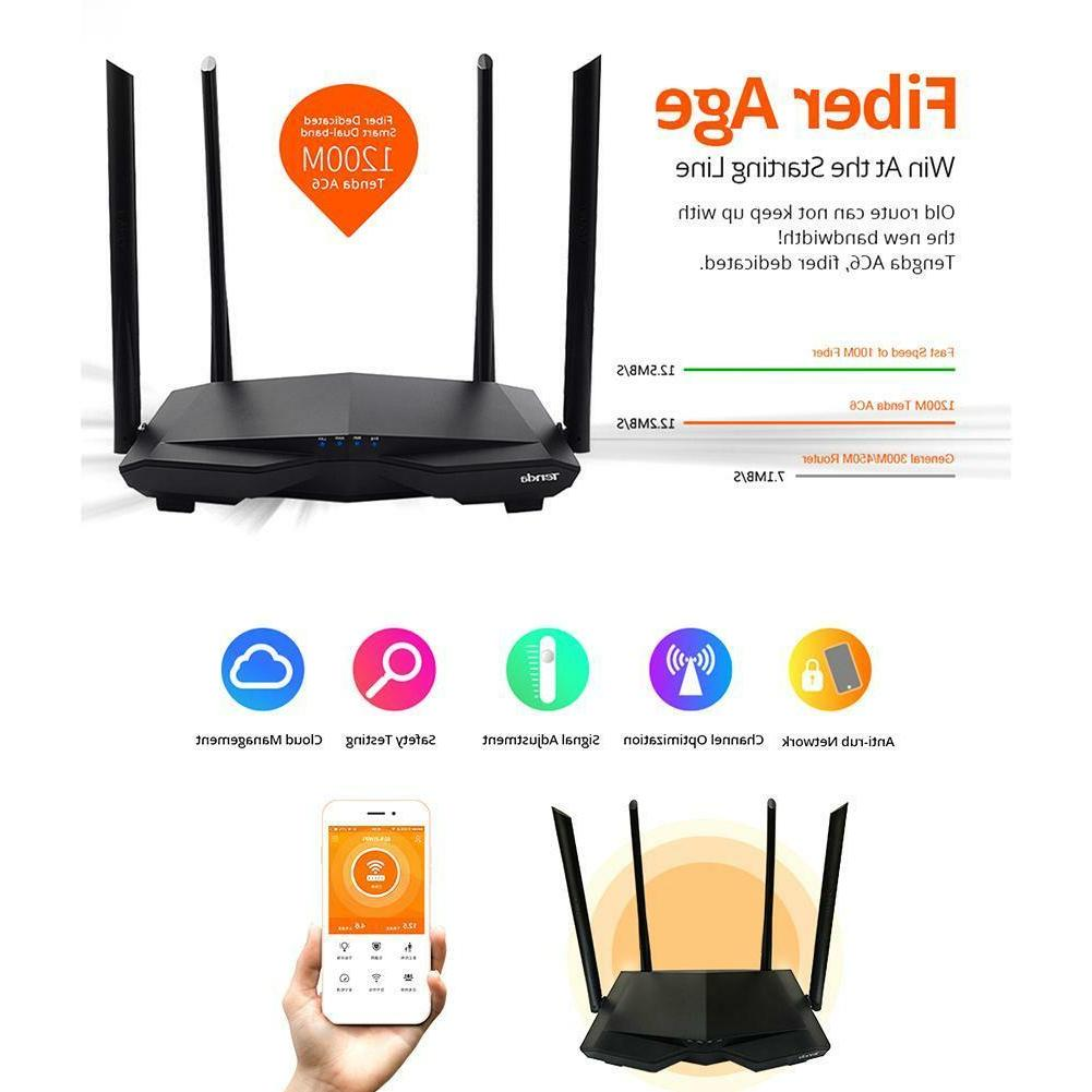 Dual Band 2.4GHz/5.0GHz 1200Mbps Tenda AC6 WiFi Router APP A