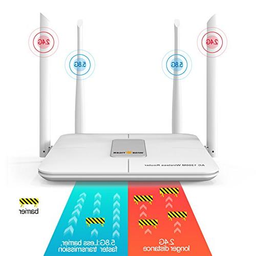 WISE TIGER Wi-Fi Router AC1200Mbps Speed Dual Long Range Router Fast,
