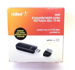 N300 Belkin WiFi USB Adapter High Performance Works With All