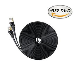 Net_Cafe Flat Cat 7 Ethernet Cable, 600MHz, 10Gbps - With Go