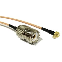 RF coaxial Cable Adapter UHF Female SO239 to MCX Male Right