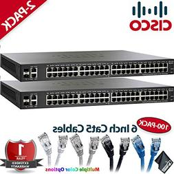 Two Cisco SG220-50P 50-Port Gigabit PoE Smart Plus Switches