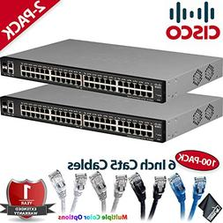 Two Cisco SLM2048T-NA Smart SG200-50 Gigabit Switches 100 x