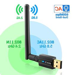 USB WiFi Adapter AC600Mbps 2.4G/5G Dual Band 802.11 ac/a/b/g
