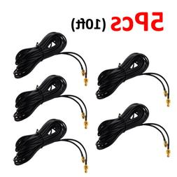 5PCS 10ft Wi-Fi Antenna Extension Coaxial Cable RP-SMA Cord