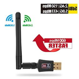 USB WiFi Adapter Wireless for PC - 600Mbps Best Dual Band  L
