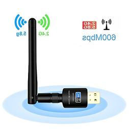 USB WiFi Adapter with 5dBi Antenna, 600Mbps Dual Band  Wirel