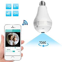 360 Degree Panoramic Light Bulb WiFi Security Camera, BESDER