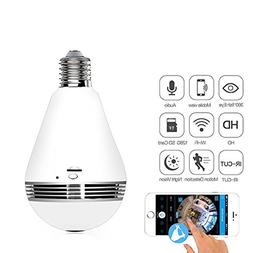 Wifi Security Camera - Night Vision Fisheye Wireless LED Lig