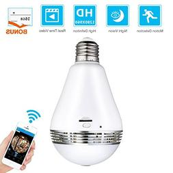 MECO Wifi Bulb Security Camera - Bonus 16GB Micro SD Card -