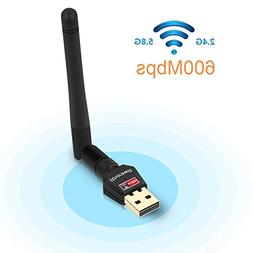 Rhorawill 600Mbps Wireless WiFi Dual Band 2.4G/5.8G USB Adap